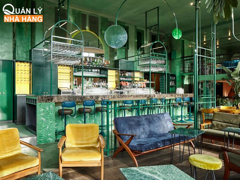 màu xanh lá cây trong kinh doanh ăn uống