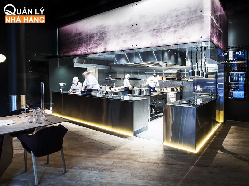 thiết kế không gian nhà hàng bếp mở