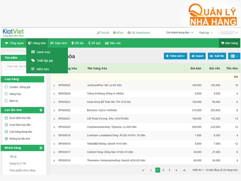 KiotViet là phần mềm quản lý bán hàng chung cho ngành bán lẻ